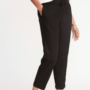 Black Linen Cropped Pants/Joggers